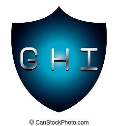 GHI alphabet font letters blue security shield symbol