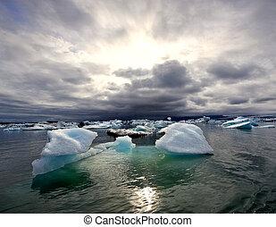 ghiacciaio, jokulsarlon, sopra, turbolento, lago, tramonto