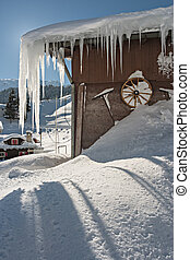 ghiacciato, casa, in, alpi