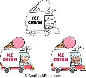 ghiaccio, collezione, crema, truck.