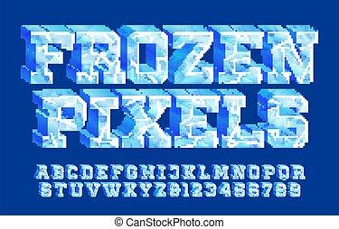 ghiaccio, congelato, font., alfabeto, numbers., pixel, 3d, lettere