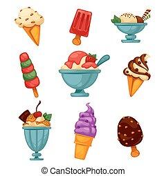 ghiaccio, cream., colorito, set, saporito
