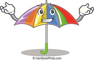 ghignando, arcobaleno, ombrello, isolato, mascotte