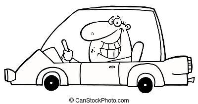 ghignando, automobile, delineato, guida, uomo