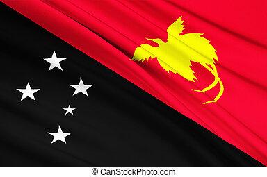 ghinea, -, Papua, bandiera, nuovo, moresby, Melanesia, Porto...