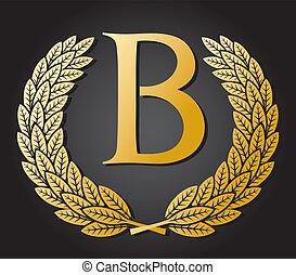 ghirlanda, alloro, b, lettera, oro