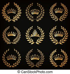 ghirlanda, alloro, etichette, lusso, oro