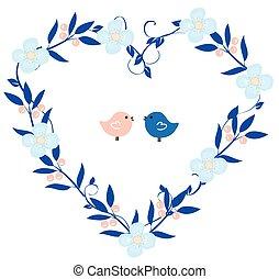 ghirlanda cuore, con, uccelli