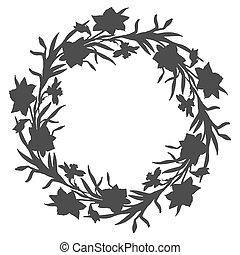 ghirlanda, fiori, floreale, tromboni, cerchio, mano, disegnato, narciso