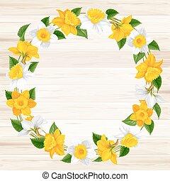 ghirlanda, fiori primaverili