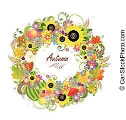 ghirlanda floreale, con, frutte, frumento