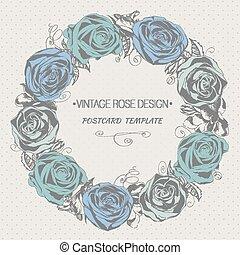 ghirlanda floreale, con, roses., vendemmia, stile