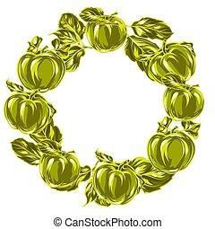 ghirlanda, mele, leaves.