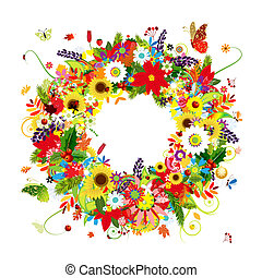ghirlanda, quattro, disegno, floreale, tuo, stagioni