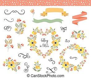 ghirlande, autunno, grafico, set, matrimonio