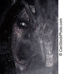 Ghost - 3d illustration of scary ghost in the dark, Horror ...