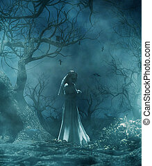 Ghost bride in creepy forest