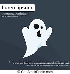 Ghost Cartoon Halloween Character Flat Vector