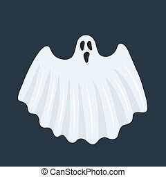 Ghost character. Halloween scary ghostly monster, dead boo ...