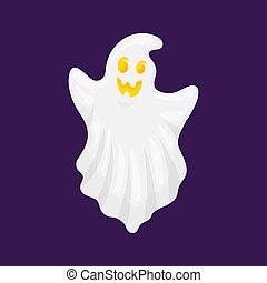 Ghost characters. A creepy white spirit flies with a scary and sweet face. Cartoon and flat style. Vector illustration on white background.
