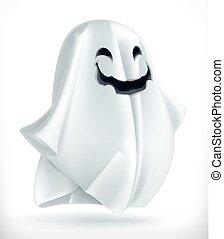 ghost., feliz, dia das bruxas, 3d, vetorial, ícone
