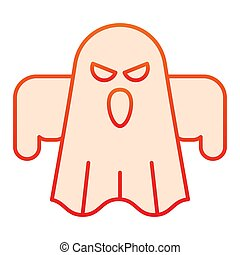 Ghost flat icon. Scary night evil monster. Halloween party vector design concept, gradient style pictogram on white background.