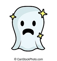 ghost floating comic character icon vector illustration ...