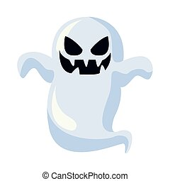 ghost floating halloween character icon vector illustration ...