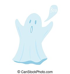 Ghost floating with hands isolated on white background. Cartoon cute phantom in style doodle.