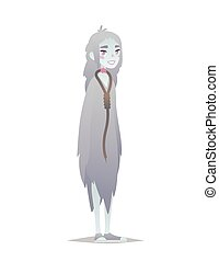 Ghost girl. Halloween character. Vector