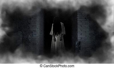 Ghost girl in doorway. A terrible ghost.