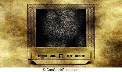 Ghost girl on vintage tv set