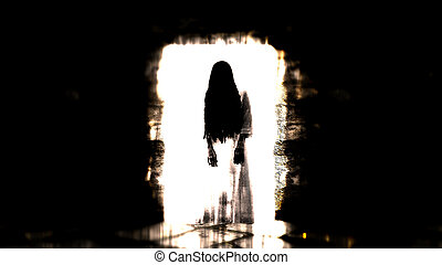 Ghost girl. Scary ghost in the dark corridor. 3D illustration.