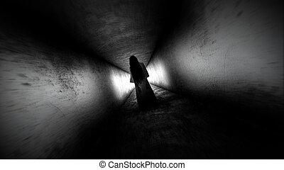 Ghost girl. Scary ghost in the dark corridor