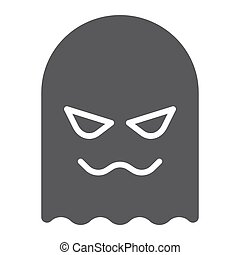 Ghost glyph icon, horror and character, horror sign, vector graphics, a solid pattern on a white background.