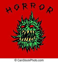 ghost., gniewny, ilustracja, wektor, zielony, kolczasty