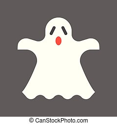 ghost, halloween character set icon, flat design
