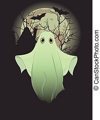 Ghost - Halloween invitation of cute ghost