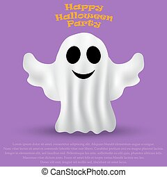 Ghost Halloween party in a white sheet. bringing flies, ...