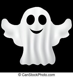 Ghost Halloween party in a white sheet on a black background...