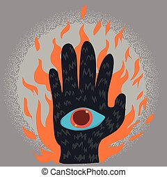 Ghost hand with eye