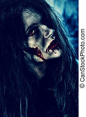 ghost her - Bloodthirsty zombi standing at the night...