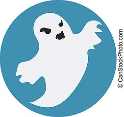 Ghost icon flat style. Isolated on white background. Vector illustration.