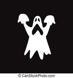 Ghost icon isolated on black background.