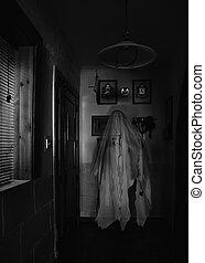Ghost in Corridor - Ghostly apparition in a dark corridor