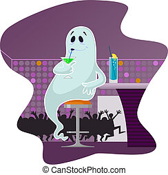 Ghost in the bar drinking cocktails