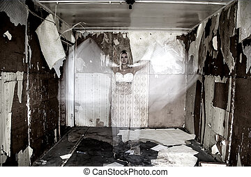 Ghost in the old abandoned house