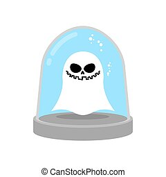 Ghost in trap. specter in Glass bell. laboratory flask. Scientific research Paranormal. wineglass trap for phantom