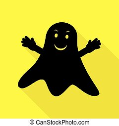 Ghost isolated sign. Black icon with flat style shadow path on yellow background.