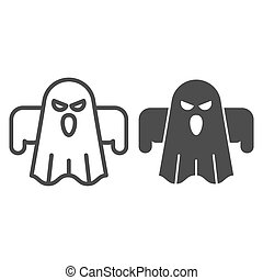 Ghost line and solid icon. Scary night evil monster. Halloween party vector design concept, outline style pictogram on white background.